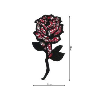 Aplique flor rosa tupis rojo