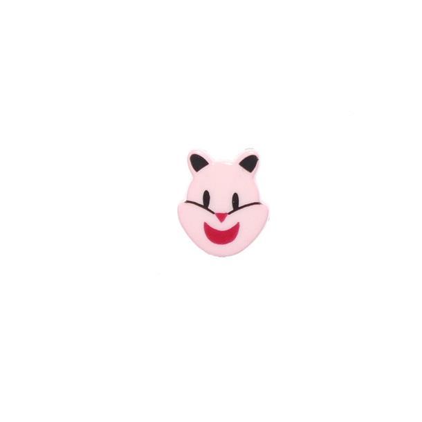 Boton infantil cara gato rosa