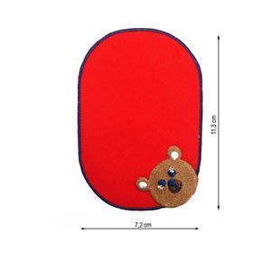 Parche codera bordado rojo oso