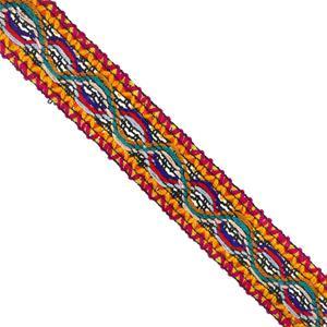 Galon tejido lana 3cm.fux+allo
