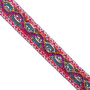 Galon tejido lana 3cm.fux+rosa