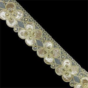 Galon guipur+cristal oro flor
