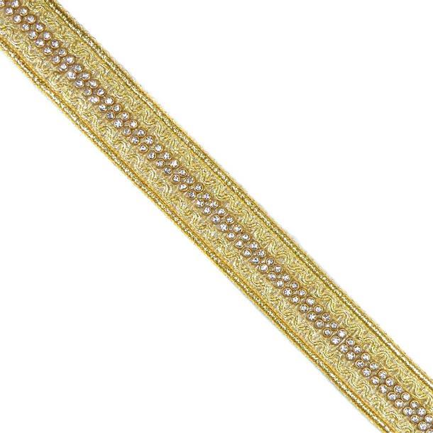 Galon metaliz+strass 2.5cm.oro