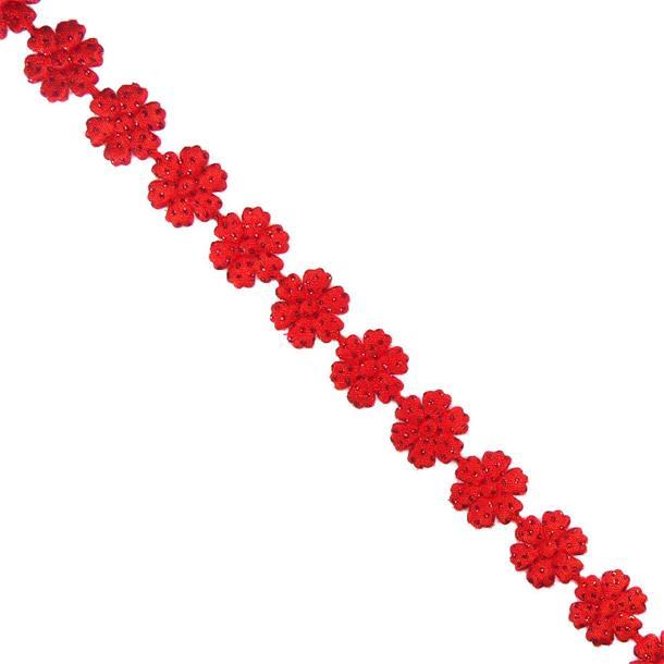 Cinta flores 15mm.rojo brillo