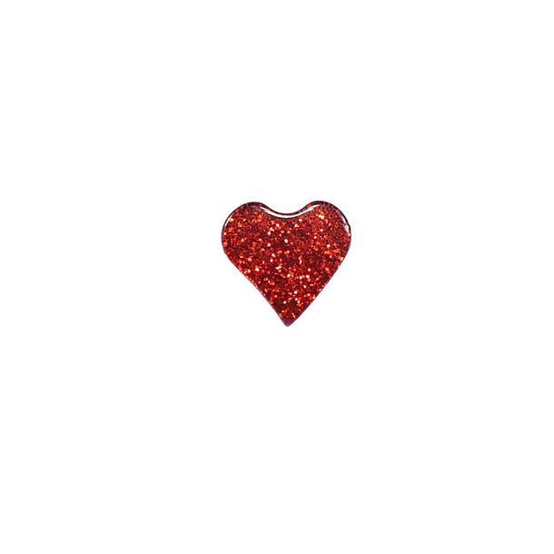 """Boton corazon gliter 16""""rojo"""