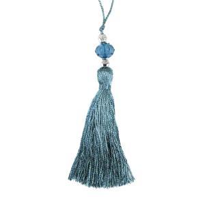 Borla abalorios 10cm.azul