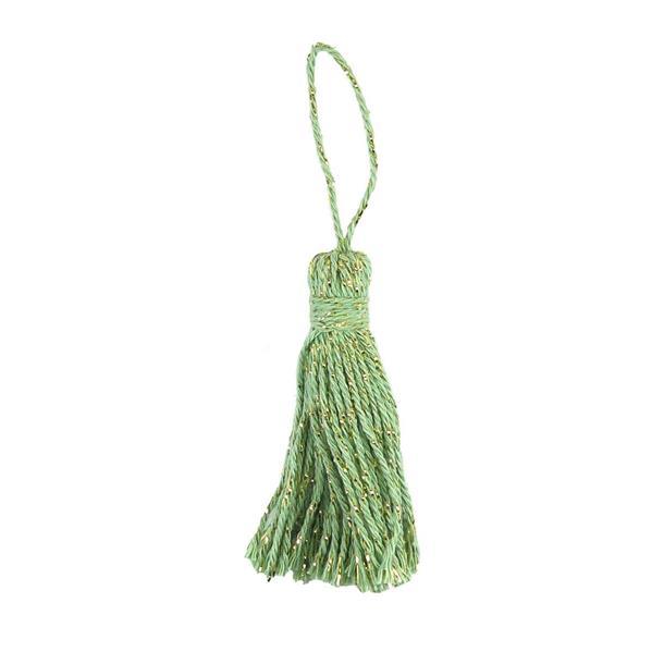 Borla algodon+lurex 8cm.verde