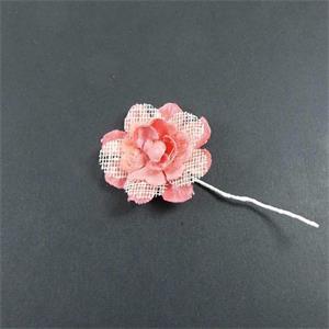 Flor tallo malla coral+coral