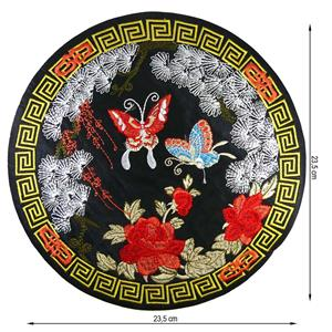 Parche flor+mariposas round