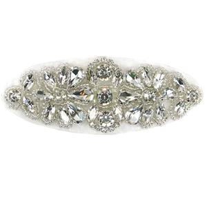 Aplique oval 2flor strass