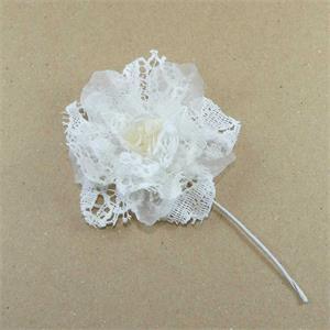 Flor guipur+gasa+perla marfil