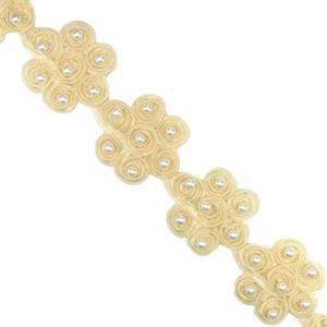 Galon flor/cinta+perla beig
