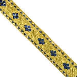 Galon metal jacquar oro+azul
