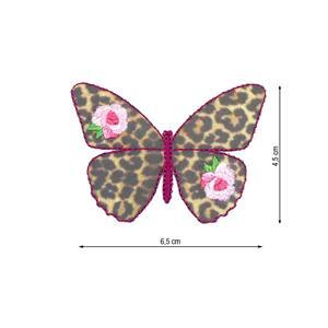 Parche bordado mariposa leopar