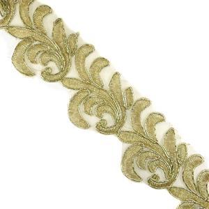 Galon bordado hojas oro