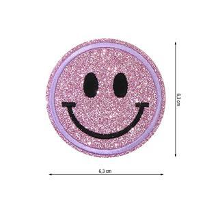 Parche termo smiley gliter ros