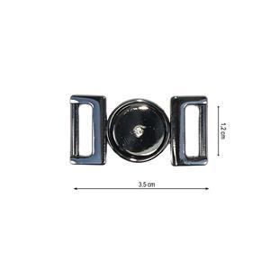 Broche metal strass pavon.12mm