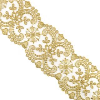 Entredos bordado tul dorado