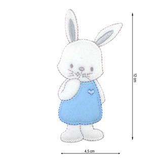 Parche bordado conejito azul