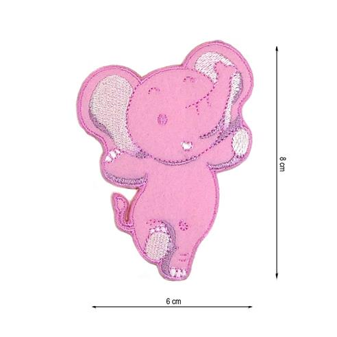 Parche bordado elefante rosa