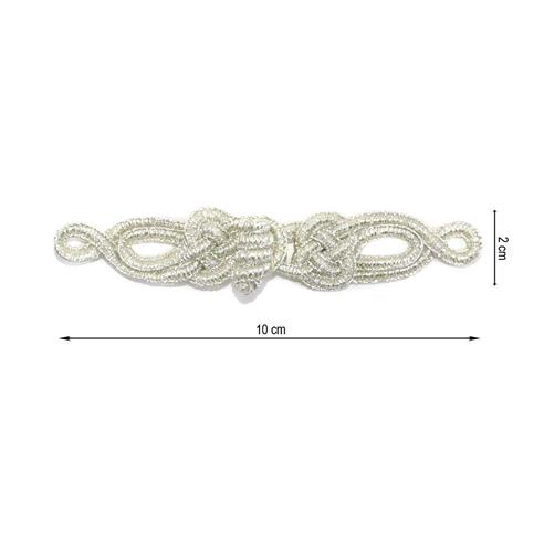 Alamar metalizado 10x2cm.plata