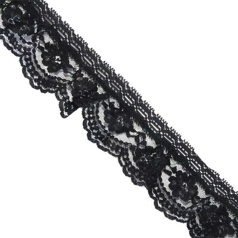 Puntilla fruncida nylon negro