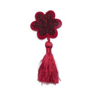 Aplique flor+borla rojo oscuro