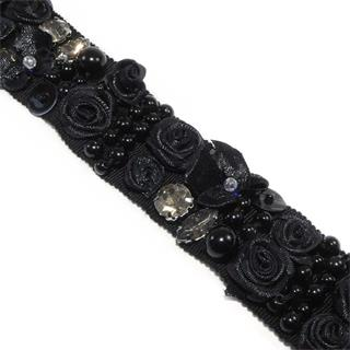 Galon flor+perla+cristal negro
