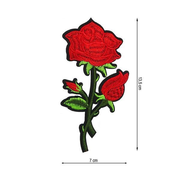 Parche flor rosa+tal.rjo. 7x12