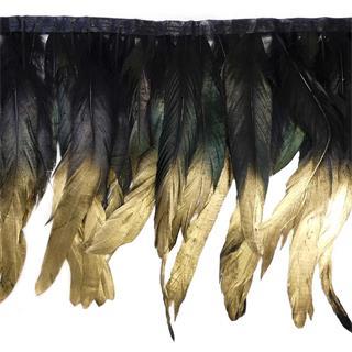 Fleco plumas 24cm.negro+oro