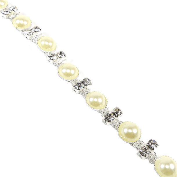 Galon strass+media perla
