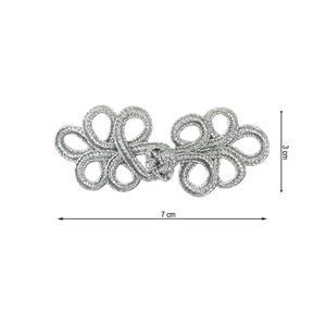 Alamar metalizado 7x3cm.plata