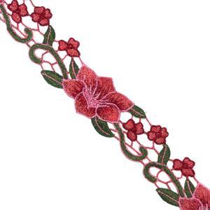 Guipur bord.flores coral+verde