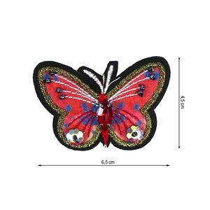 Parche mariposa+abalorios rosa