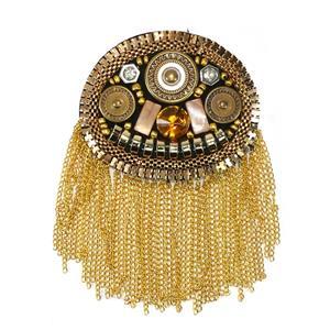 Hombrera metal+cadena oval oro