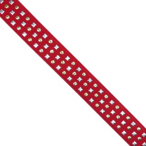 Goma tachas 3filas rojo 25mm.