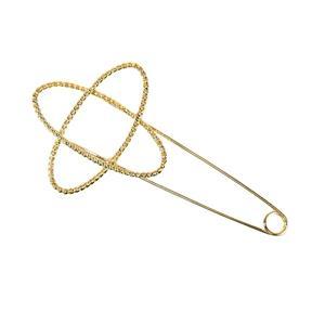 Alfiler doble ovalo oro