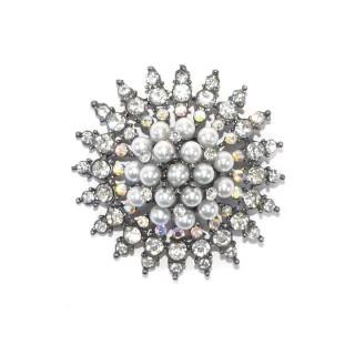 Boton cristal+perla 50mm.