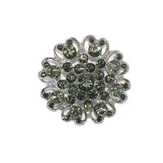 Boton cristal coraz.verde 44mm