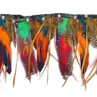 Fleco plumas+abalorios color