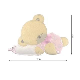 Parche oso+biberon vichy rosa