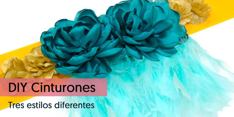 Cinturon de flores para vestido azul marino